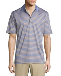 Peter Millar Charlie Striped Short Sleeve Knit Polo Shirt Navy