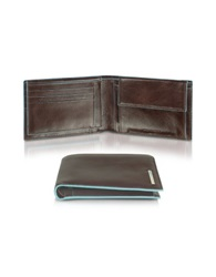 Piquadro Blue Square Men's Leather Card Holder And Id Wallet Dark Brown