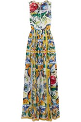 Dolce And Gabbana Printed Silk Gown Yellow Blue