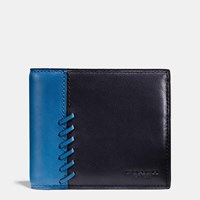 Coach Rip And Repair Compact Id Wallet In Sport Calf Leather Midnight Denim