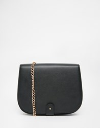 Monki Cross Body Bag With Gold Chain Black
