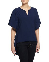 Neiman Marcus Short Sleeve High Low Blouse Navy