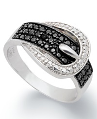 Victoria Townsend Black Diamond 1 4 Ct. T.W. And Diamond Accent Buckle Ring In Sterling Silver