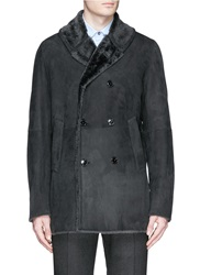 Paul Smith Shearling Trim Leather Double Breasted Coat Grey