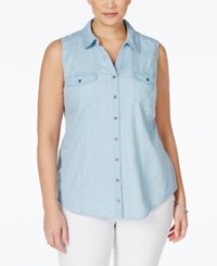 Styleandco. Style And Co. Plus Size Denim Sleeveless Blouse Only At Macy's Ice Wash