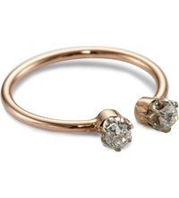 Annina Vogel 9Ct Rose Gold Midi Toi Et Moi Platinum Set Diamond Ring