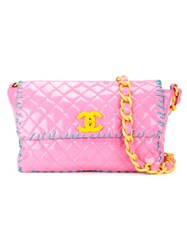 Chanel Vintage Large Quilted Crossbody Bag Pink And Purple