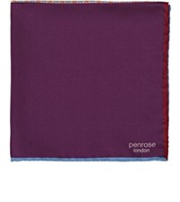 Penrose London Men's Mixed Pattern Silk Twill Pocket Square Purple