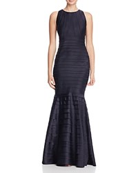 Kay Unger Satin Mermaid Gown Navy