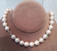 Nina Runsdorf Large White Pearl Necklace Silver