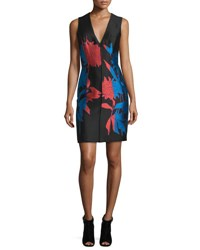 Carolina Herrera Sleeveless Floral Print Sheath Dress Cayenne Black Blue Cayenne Black Blu