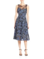 Teri Jon Lace Sleeveless Tea Dress Blue