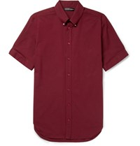 Alexander Mcqueen Brad Slim Fit Button Down Collar Stretch Cotton Poplin Shirt Burgundy
