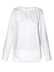 Marni Tie Back Coated Poplin Blouse White