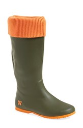 Women's Butterfly Twists 'Windsor' Foldable Rain Boot Green Orange