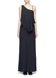Elizabeth And James 'Ellie' One Shoulder Ruffled Front Maxi Dress Black
