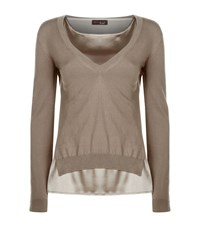 Peserico Double Layered Jumper Female Neutral
