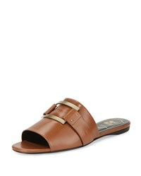 Roger Vivier Square Buckle Flat Slide Sandal Cognac Red Women's