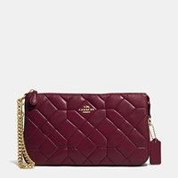 Coach Canyon Quilt Nolita Wristlet 24 In Calf Leather Light Gold Burgundy