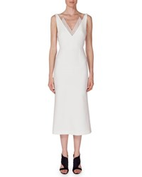 Roland Mouret Shannon Layered V Neck Dress White