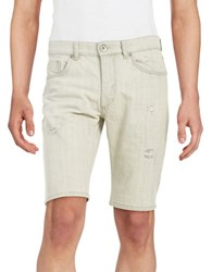 Selected Distressed Denim Shorts White