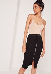 Missguided Zip Front Midi Skirt With Elastic Waist Black Black
