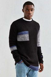 Cheap Monday Separate Colorblock Crew Neck Sweater Black