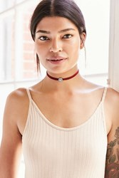 Urban Outfitters Flower Charm Choker Necklace Maroon