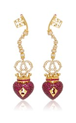 Lydia Courteille Surrealist Collection Red Sapphire Earrings