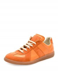 Maison Martin Margiela Replica Leather And Suede Low Top Sneaker Orange