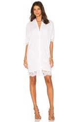 Olcay Gulsen Georgette Covered Lace Shirt Dress White