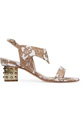 Nicholas Kirkwood Leda Cork Appliqued Neoprene Sandals Tan