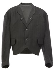 Christopher Nemeth Pinstripe Cropped Blazer Black