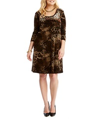 Karen Kane Plus Plus Velvet Burnout Dress Brown