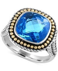 Effy Collection Effy Blue Topaz Ring 6 9 10 Ct. T.W. In Sterling Silver With 18K Gold Accents