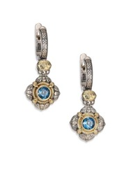 Konstantino Hermione London Blue Topaz 18K Yellow Gold And Sterling Silver Drop Earrings Silver Gold