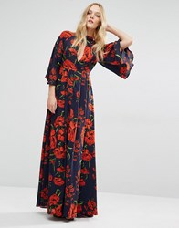 Y.A.S Nehmat Queen Maxi Dress With Kimono Sleeve All Over Print