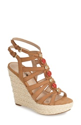 Guess 'Onixx' Snake Embossed Leather Wedge Sandal Women Natural