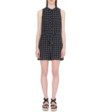 Whistles Check Linen Playsuit Navy