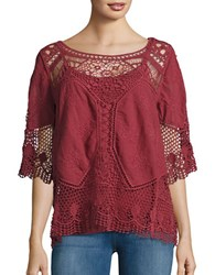 Democracy Embroidered Crochet Top Copper