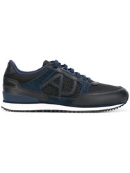 Armani Jeans Contrast Panel Sneakers Blue
