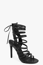 Boohoo Plaited Strappy Lace Up Sandal Black