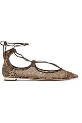 Aquazzura Christy Leather Trimmed Embroidered Mesh Point Toe Flats Gold
