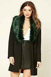 Forever 21 Faux Fur Lined Coat Black Green