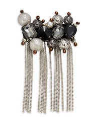 Design Lab Lord And Taylor Mesh Accented Faux Pearl Bead Stone Fringe Brooch Multi