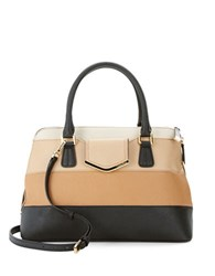 Calvin Klein Saffiano Leather Satchel Bag Colorblock