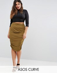 Asos Curve Pencil Skirt With Ruched Side Dark Khaki Green