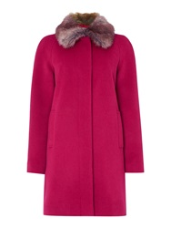 Dickins And Jones Faux Fur Collar Peacoat Pink