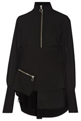 Marques' Almeida Embellished Wool Crepe Top Black