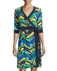Melissa Masse Geometric Print 3 4 Sleeve Wrap Dress Casablanca